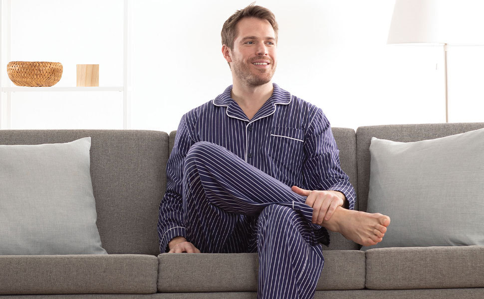 Man in pajamas in living room
