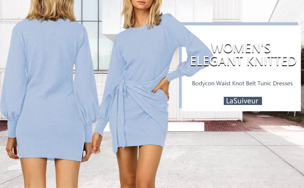 LaSuiveur Women's Long Sleeve Crewneck Waist Knot Short Dresses