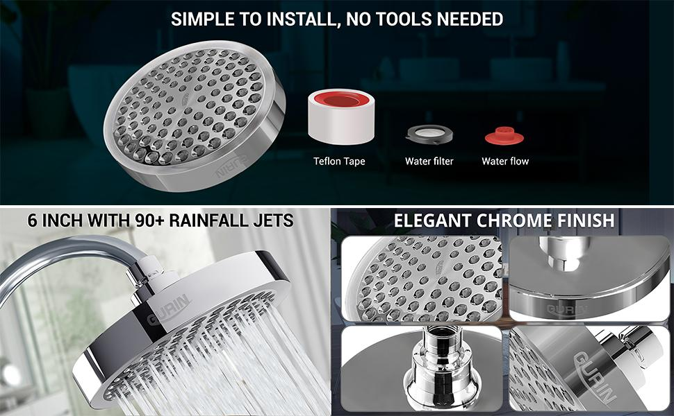 Gurin Products High Pressure Shower Head Replacement 1.8 GMP No Tools Needed, Chrome Finish