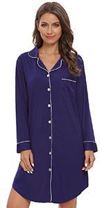 Nightgown Women Nightshirt Long Sleeve Sleep Shirts