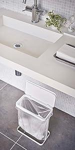 山崎実業(Yamazaki) ゴミ袋ホルダー スリム ホワイト 約W26XD14.5XH38cm ルーチェ ゴミ袋が取り出しやすい ゴミ箱 5401