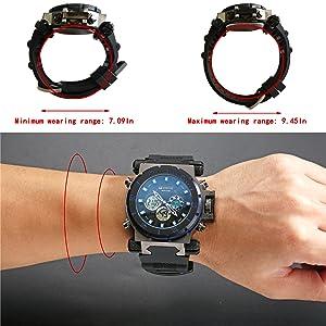 Men's Wrist Watches Minimum wearing range: 7.09In, maximum wearing range: 9.45In.