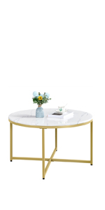 X-Base Faux Marble Coffee Table, Round Tabletop, Sturdy Metal Legs
