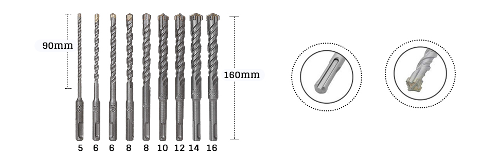 Carbide Tip Drill Bit Set for Tile, Brick, Cement, Concrete, Glass, Plastic, Cinder Block, Wood etc