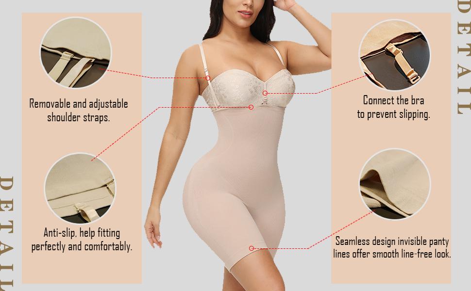 Women Hi-Waist Trainer Shapewear Tummy Control Body Shaper Butt Lifer Thigh SlimmerSeamlessBodysuit