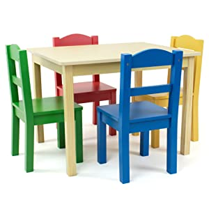 Primary kids wood table and 4 chairs set