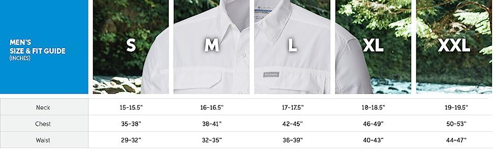 Men's long sleeve shirt sizing