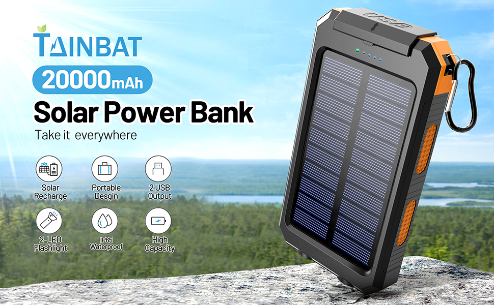 portable solar powered phone charger 20000 mah iphone cell phone android emergency outdoor camping