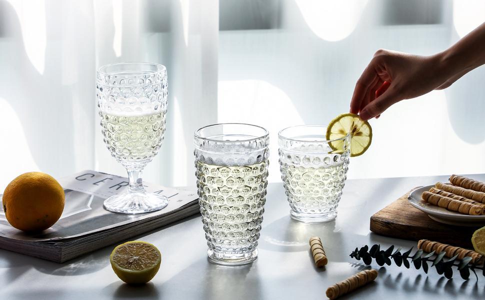 Everest Global Hobnail Beverage Glass set
