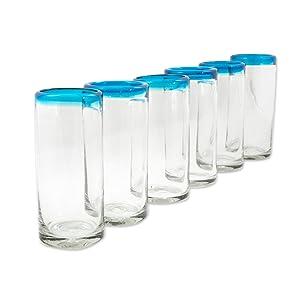 NOVICA,Blue,Glass,Serving Glass,Set Of 6,Drinkware,Kitchenware,Utensils,Drink Glass,Glassware,Water