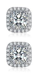 Square moissanite earrings