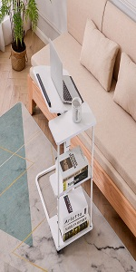 Natwind C-Shaped End Table with Storage Shelves