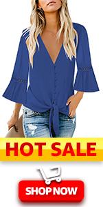 v neck t shirts women Elegant Chiffon blouse Button down causal loose tops shirts