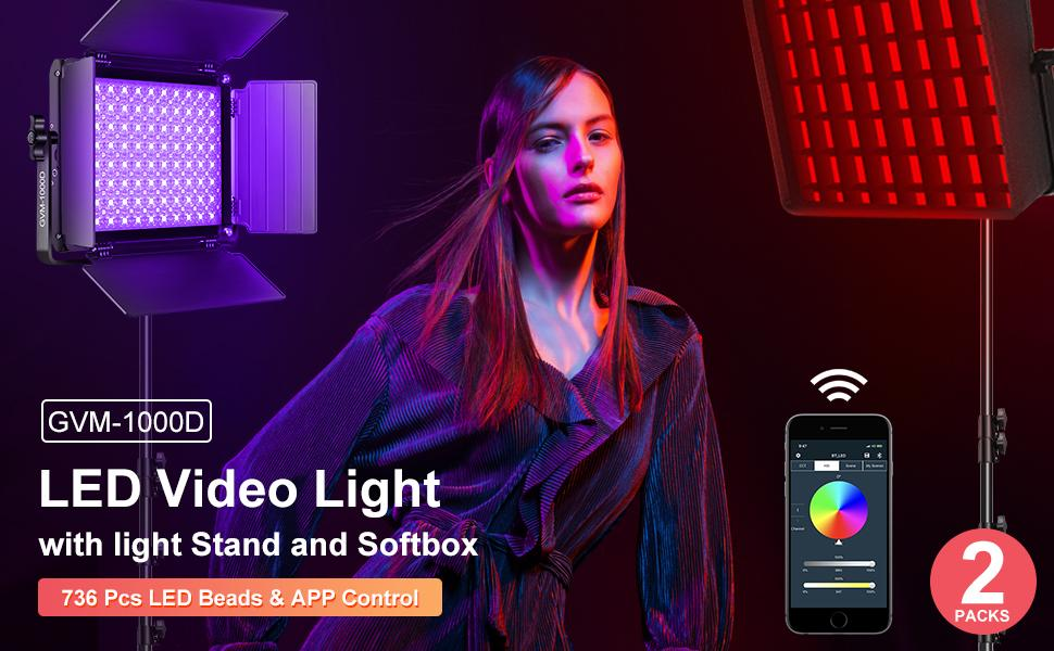 GVM 1000D LED Video Light with softbox