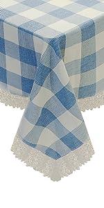 blue and white plaid tablecloth farmhouse checkered linen cotton tablecloth rectangle kitchen