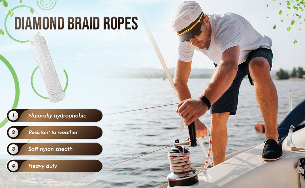 Diamond Braid Polypropylene All Purpose Flagline Rope