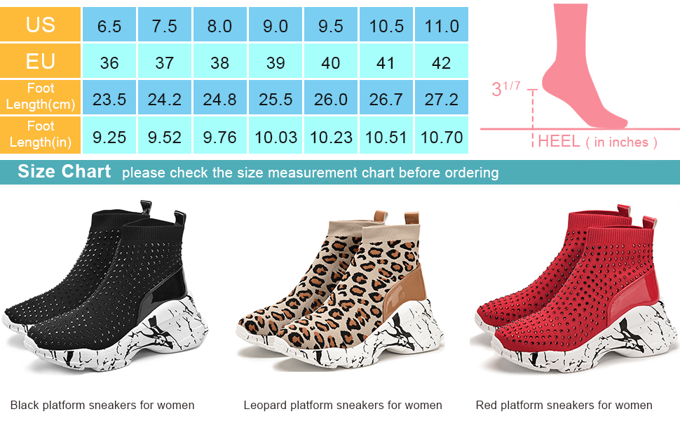Women's Platform Boots Stretchy Chunky Sneakers Wedge Ankle Boots