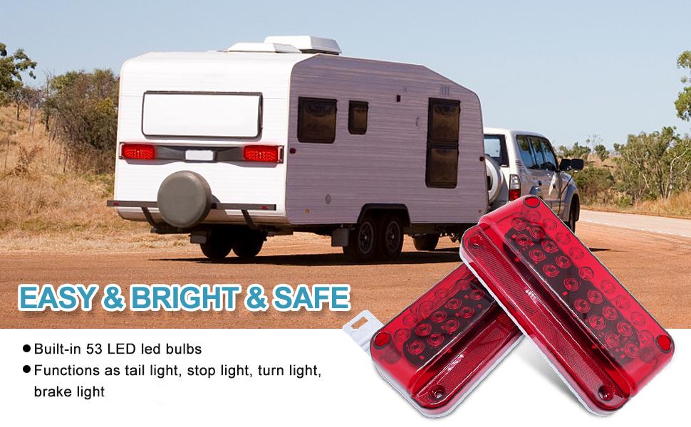 53 LED Red RV Camper Trailer Stop Turn Brake Tail Lights White License Plate Light