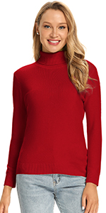 100% Merino Wool Turtleneck Burgundy Sweater