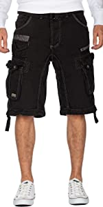 Shorts for men in cargo style including belt