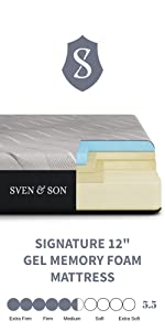 sven and son 12 inch gel memory foam mattress