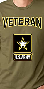 us army veteran olive drab t shirt with black gold white army star logo and text