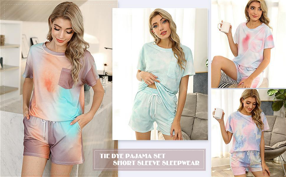 Pajamas for Women Shorts Set Short Sleeve Two Piece Sleepwear