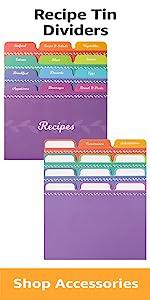 Rainbow recipe tin dividers 24 dividers