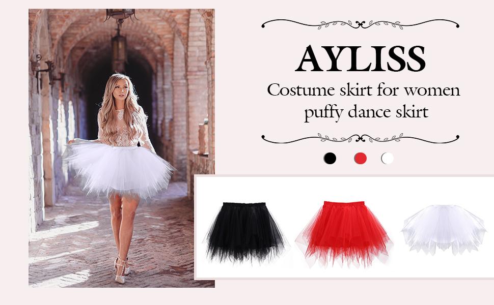 Ayliss Women's Tutu Skirt 1950s Short Vintage Petticoats Bubble Ballet Skirt Tutu Tulle