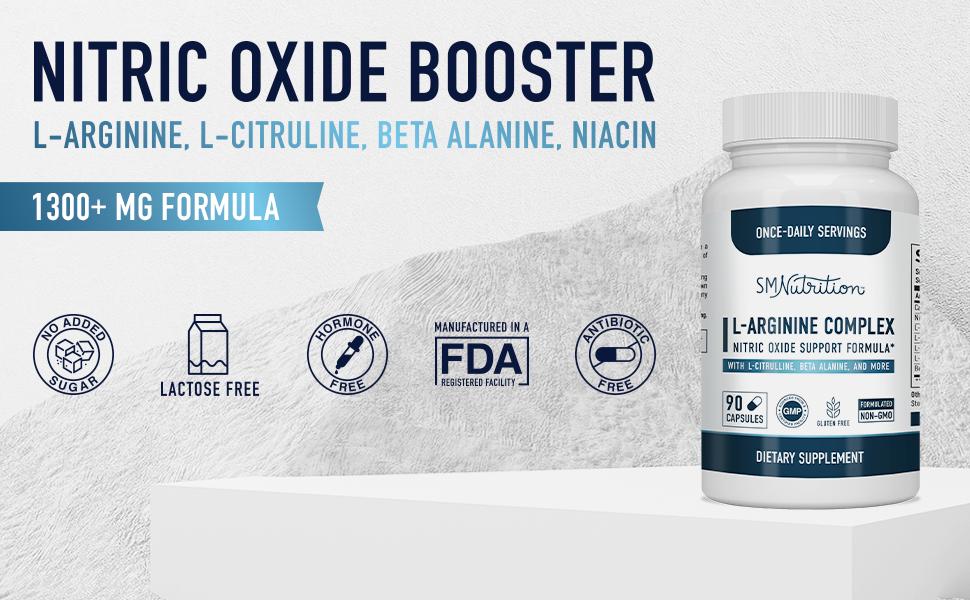 Nitric Oxide Booster   L-Arginine, L-Citruline, Beta Alanine, Niacin   1300+ MG Formula