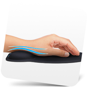 Person's hand on mouse wrist rest with lines showing proper wrist position