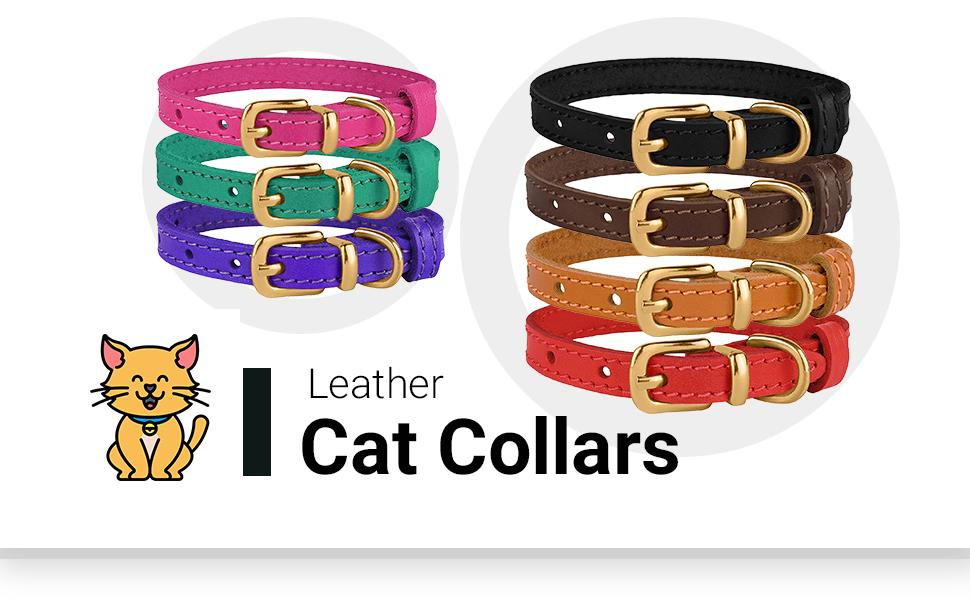 leather cat collar kitten small pets adjustable boys girls adult colorful comfort natural