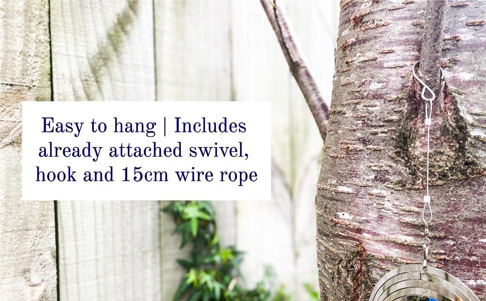 Hanging wind spinner metal yard art stainless steel wire rope and swivel hanger hook