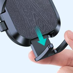 The car phone holder has a bottom foot. You can pull the foot down to fit for big and heavy phones.