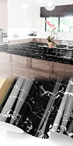 Gloss Black White Marble Granite Vinyl