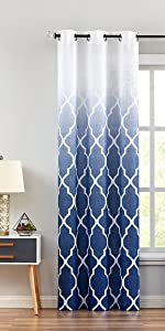 Blue GEO Ombre Sheer Curtains