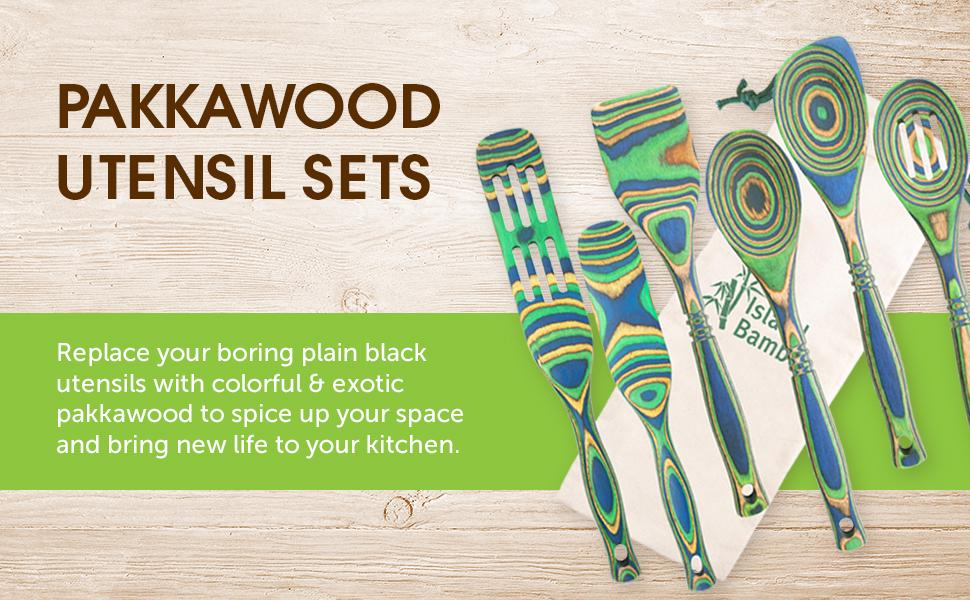 pakkawood utensils utensil kitchen wood island bamboo exotic spoons slotted