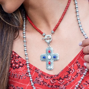 Sterling Silver Red White Blue Gemstone Pendant enhancer