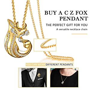 Diamond fox pendant with AAAAA+ cubic zirconia on top