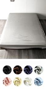80サテン ベッドシーツ ノーブル 最高級超長綿 シルク 綿100%