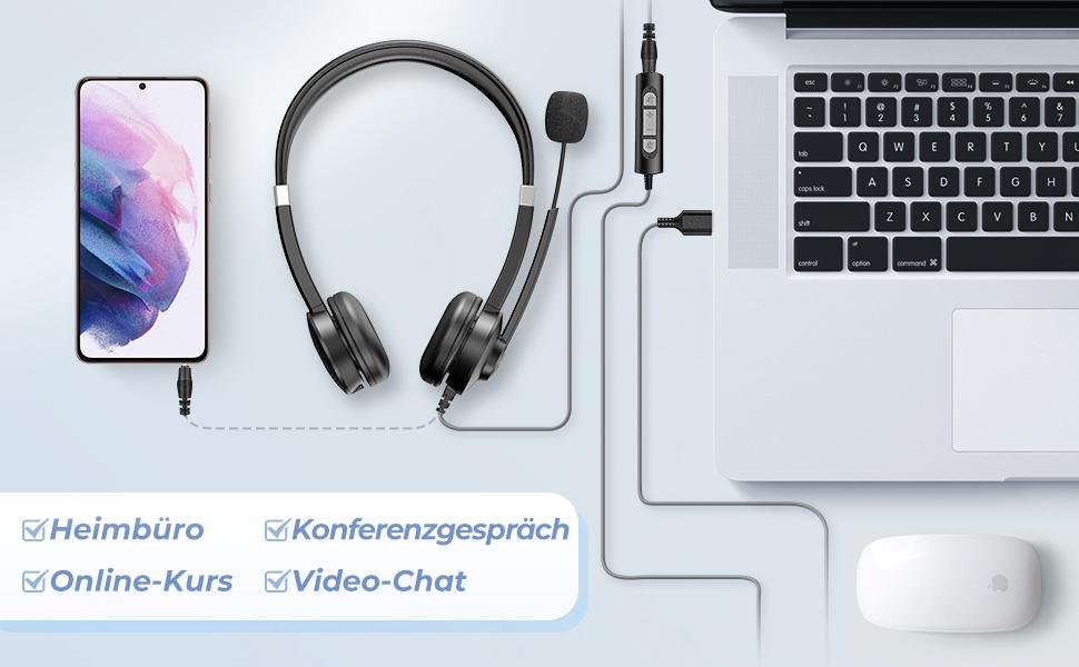 PC headset für Skype, Microsoft Teams, Zoom