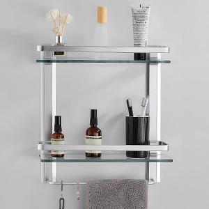 Bathroom Tempered Glass Shelf Aluminum 2 Tier, Silver
