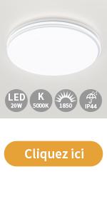 Plafonnier LED 20w 5000k 1850lm 26cm