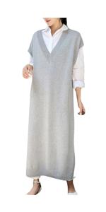 Women Long Pullover Knitted Sweater Vest Dress