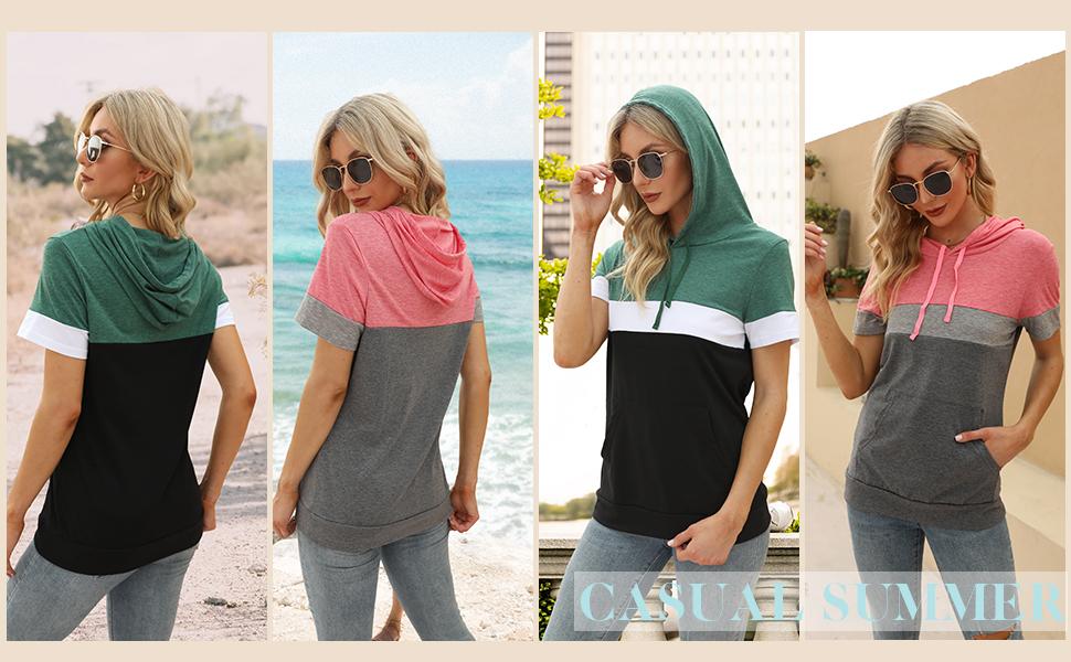 Women Summer Tops Casual Shirts Short Sleeve Hoodie Blouses Ladies Tunics Loose Tees