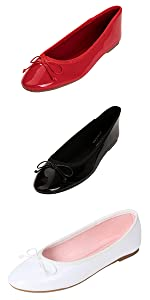 ROUND TOE PATENT BLACK WHITE RED BALLET BALLERINA FLAT SLIP ON MEMROY FOAM CUSHION COMFORT COLORFUL