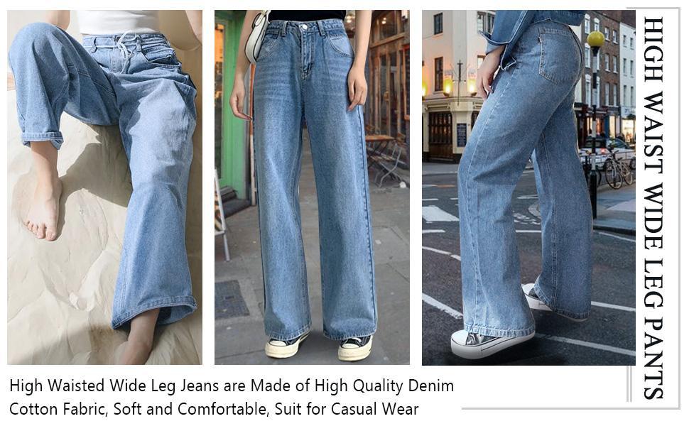 womens loose denim wide leg pant