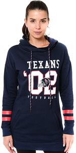 NFL Women's Tunic Pullover Terry Hoodie Sweatshirt