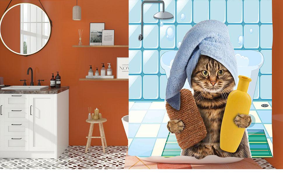 Bathing Animal Shower Curtain