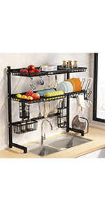 Over The Sink Dish Drying Rack 3 Tier Stainless Steel Large Kitchen Rack Dish Drainers for Home